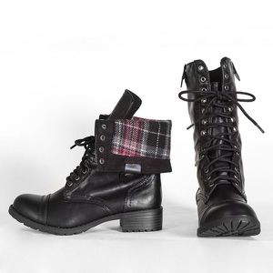oralee-black combat boots ankle mid-calf boots
